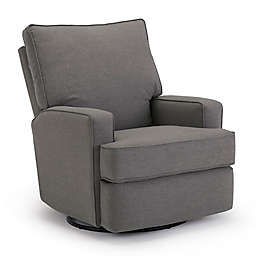 Best Chairs Custom Kersey Swivel Glider Recliner in Charcoal