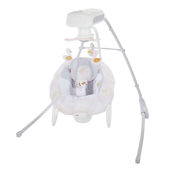 Alternate image 1 for Fisher Price® My Sweet Swan 2-in-1 Deluxe Cradle 'N Swing in White