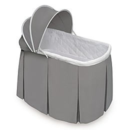 Badger Basket Cuddles Rocking Oval Doll Bassinet in Grey/White