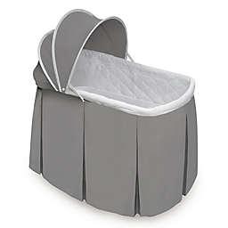 Badger Basket Cuddles Rocking Oval Doll Bassinet in Grey/White