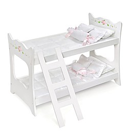 Badger Basket Doll Bunk Bed in White Rose