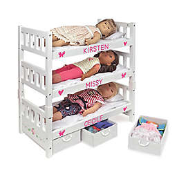 Badger Basket 1-2-3 Convertible Doll Bunk Bed with Bedding and Personalizaiton Kit in White Rose