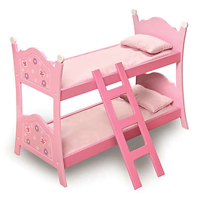 Badger Basket Blossom Butterflies Doll Bunk Bed with Ladder in Pink