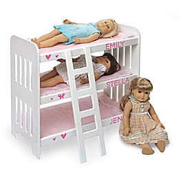 Badger Basket Triple Doll Bunk Bed with Bedding and Personalization Kit in Pink Gingham