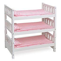 Badger Basket 1-2-3 Convertible Doll Bunk Bed in White with Pink Stripe Mats