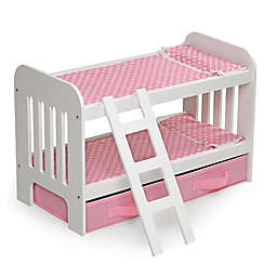 Badger Basket Doll Bunk Bed in White with Pink Polka Dot Bedding