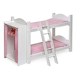 Badger Basket Armoire Doll Bunk Bed in White/Pink