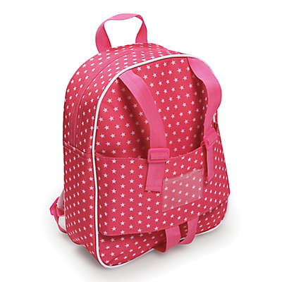 Badger Basket Doll Travel Backpack in Pink Star