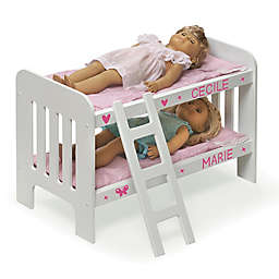 Badger Basket Doll Ladder Bunk Bed with Bedding and Personalization Kit in White/Pink/Gingham