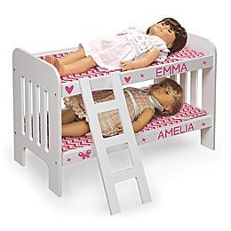 Badger Basket Doll Ladder Bunk Bed with Bedding and Personalization Kit in White/Pink/Chevron