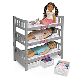 Badger Basket 1-2-3 Convertible Doll Bunk Bed with Baskets and Personalization Kit in Grey