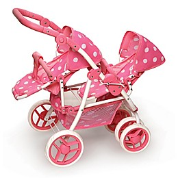 Badger Basket Polka Dot Double Doll Stroller in Pink