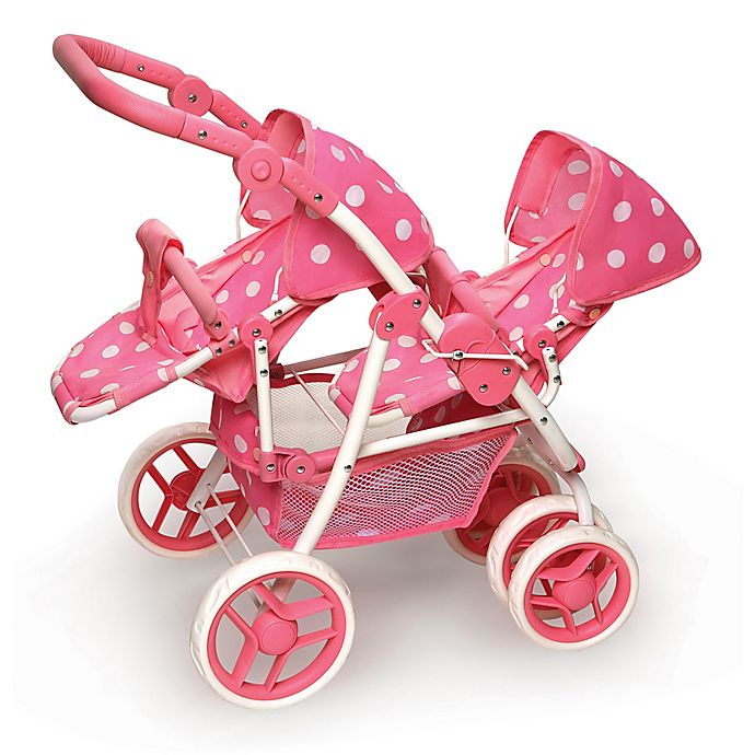 Alternate image 1 for Badger Basket Polka Dot Double Doll Stroller in Pink
