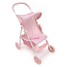 Badger Basket Folding Doll Umbrella Stroller in Pink Gingham