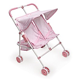 Badger Basket Double Doll Umbrella Stroller in Pink/Gingham