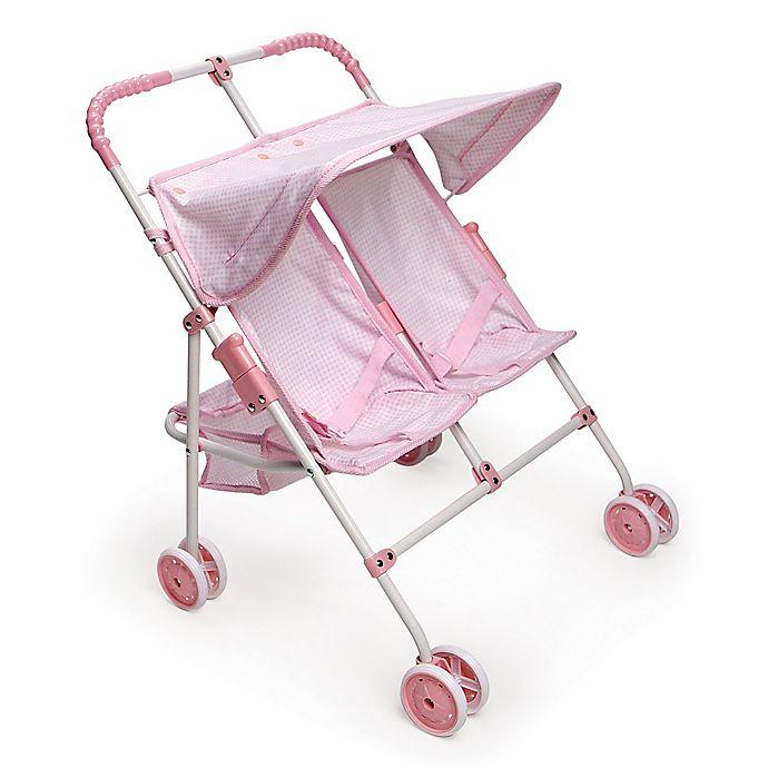 Alternate image 1 for Badger Basket Double Doll Umbrella Stroller in Pink/Gingham