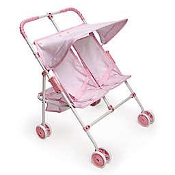 Badger Basket Double Doll Umbrella Stroller in Pink/Gingham