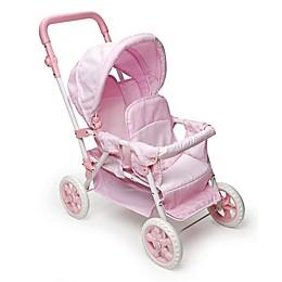 Badger Basket Double Doll Front-To-Back Stroller in Pink/Gingham