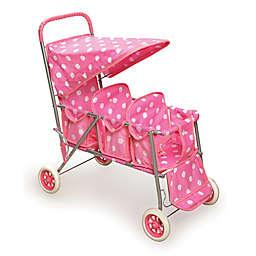 Badger Basket Folding Triple Doll Stroller in Pink