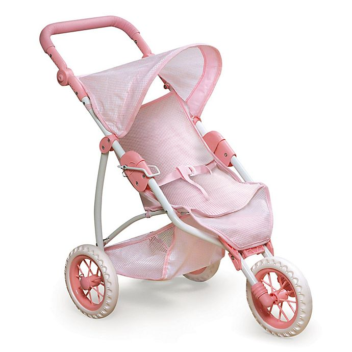 Alternate image 1 for Badger Basket 3-Wheel Doll Jogging Stroller in Pink Gingham