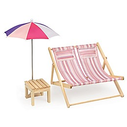 Badger Basket Double Doll Beach Chair with Table and Umbrella in Pink