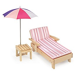 Badger Basket Doll Beach Lounger with Umbrella and Table in Pink