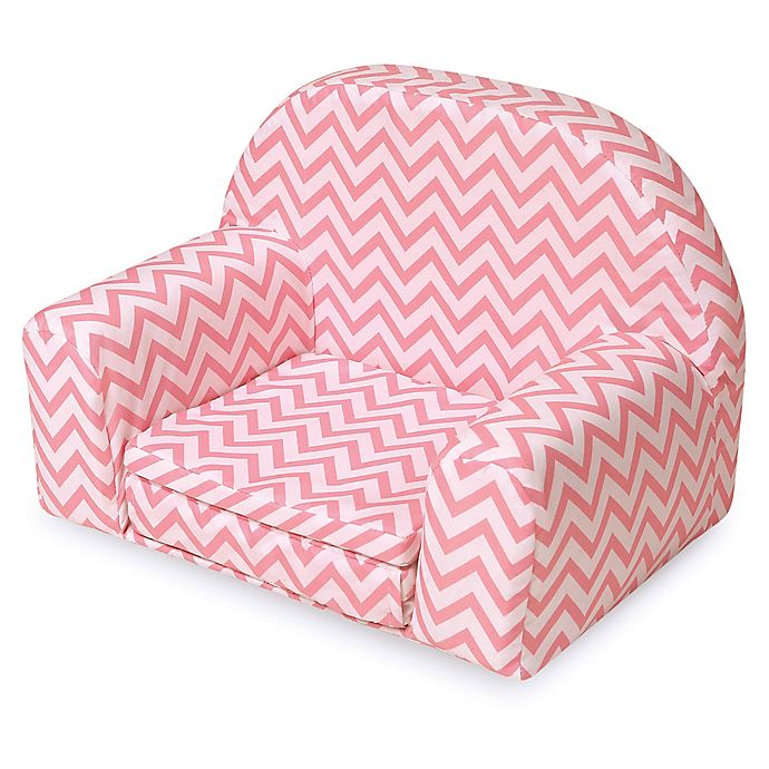 Alternate image 1 for Badger Basket Doll Sofa/Foldout Bed in Pink Chevron