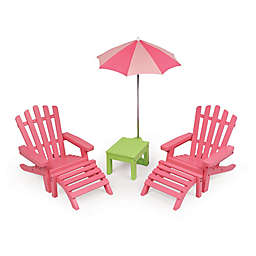 Badger Basket Double Adirondack Doll Chairs with Table and Umbrella in Pink/Green