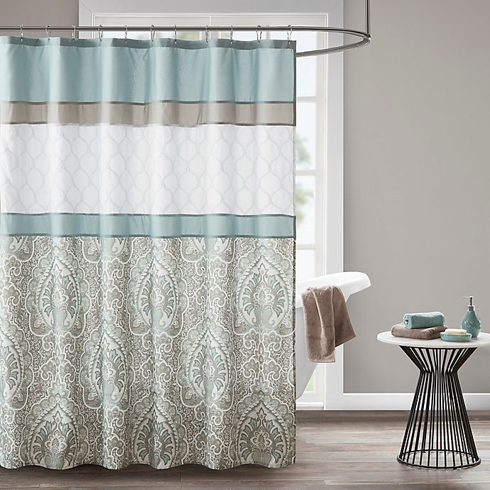 Alternate image 1 for 510 Design Shawnee Embroidered Shower Curtain in Blue