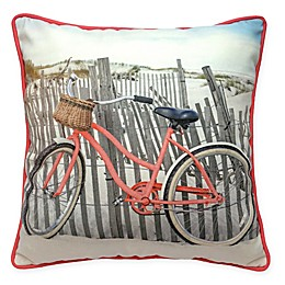 Beach Bike Square Outdoor Throw Pillow in Coral