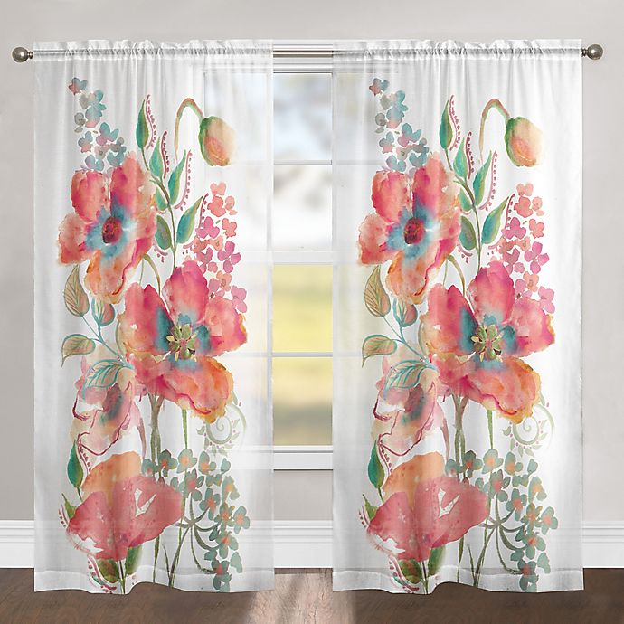 Alternate image 1 for Laural Home Bohemian Poppies 84-Inch Rod Pocket Sheer Window Curtain Panel in Pink