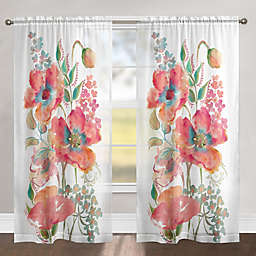 Laural Home Bohemian Poppies 84-Inch Rod Pocket Sheer Window Curtain Panel in Pink