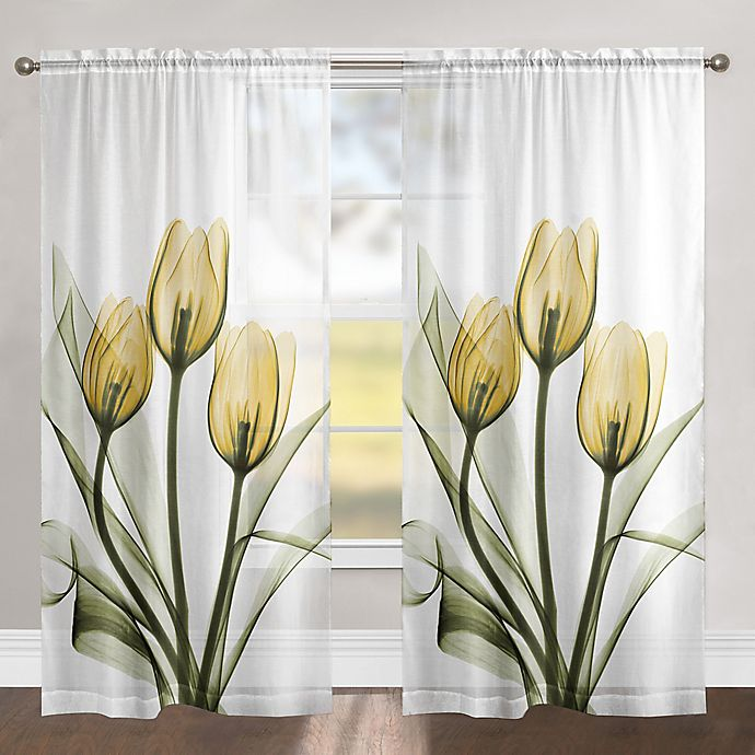 Alternate image 1 for Laural Home Golden Tulips 84-Inch Rod Pocket Sheer Window Curtain Panel in Yellow