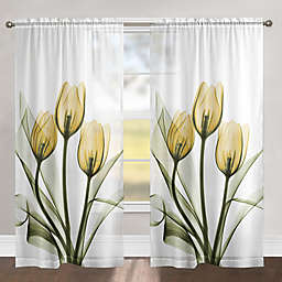 Laural Home Golden Tulips 84-Inch Rod Pocket Sheer Window Curtain Panel in Yellow