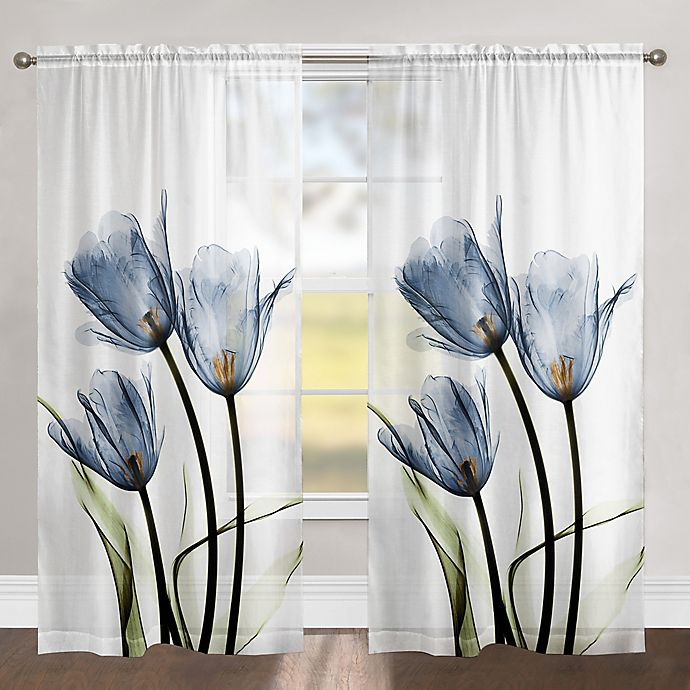 Alternate image 1 for Laural Home Tulip Trio 84-Inch Rod Pocket Sheer Window Curtain Panel in Blue