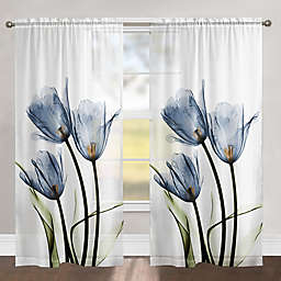 Laural Home Tulip Trio 84-Inch Rod Pocket Sheer Window Curtain Panel in Blue (Single)