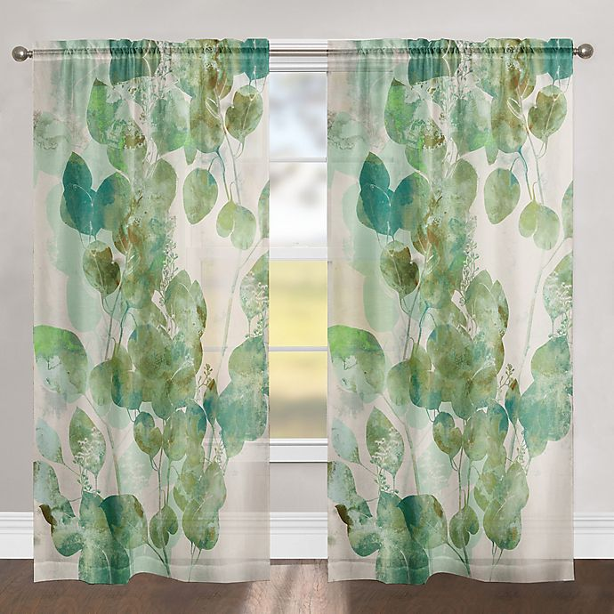 Alternate image 1 for Laural Home Watercolor Eucalyptus 84-Inch Rod Pocket Sheer Window Curtain Panel in Green