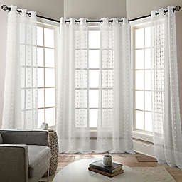 Olly 4-Pack 84-Inch Grommet Sheer Window Curtain Panels in White
