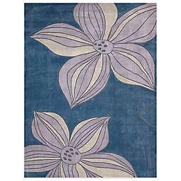 Nourison Contours Blue Corner Floral Area Rugs