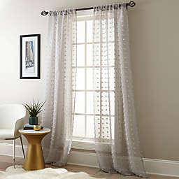 Olly Pom-Pom 2-Pack 84-Inch Rod Pocket Sheer Window Curtain Panels in Grey
