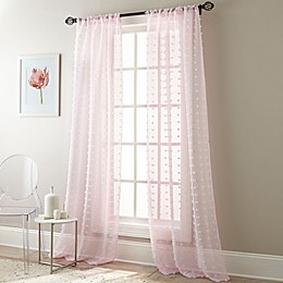 Olly Pom-Pom Rod Pocket Sheer Window Curtain Panel Pair