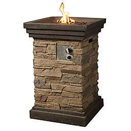 Square Slate Rock Propane Fire Pit