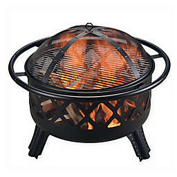 Round Wood Burning 30-Inch Fire Pit in Black