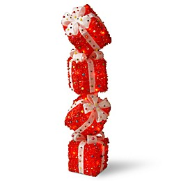 National Tree Company® 34-Inch Pre-Lit Gift Box Tower Holiday Decor in Red
