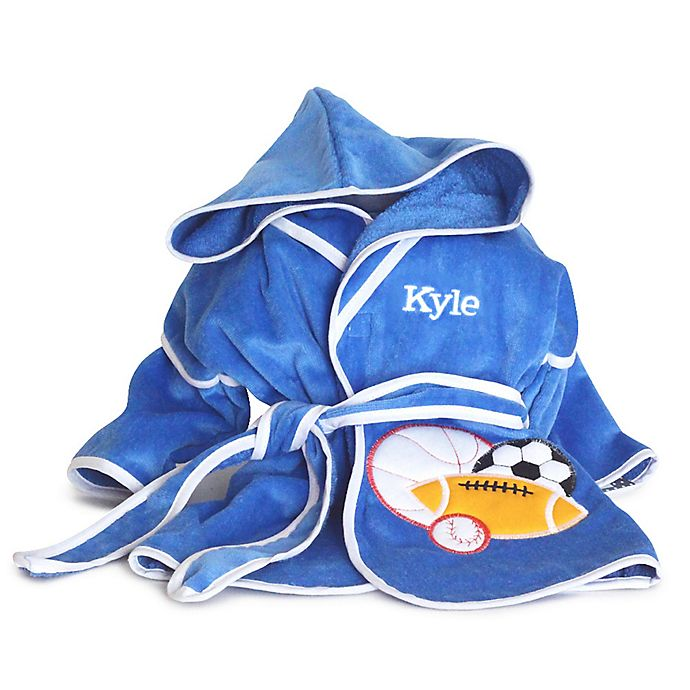 Alternate image 1 for Silly Phillie Creations® Terry Velour Hooded Bathrobe in Royal Blue/White