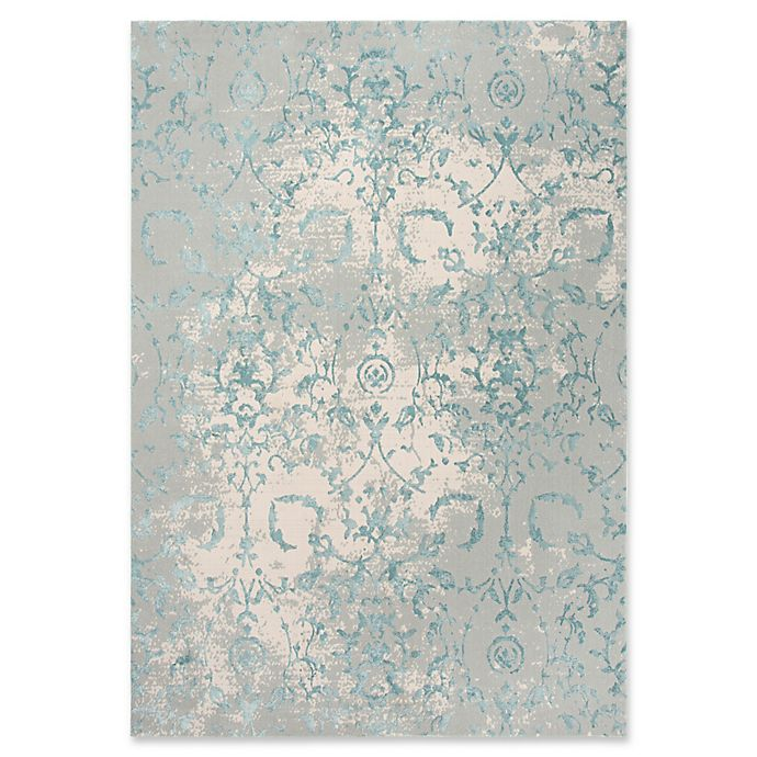Rizzy Home Chelsea Vine Scroll Area Rug In Grey Teal Bed