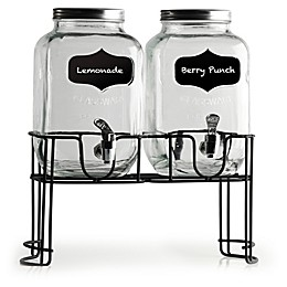 Circleware Yorkshire Double Mini Yorkshire Dispensers with Chalkboard Panels (Set of 2)