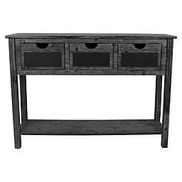 Decor Therapy Rowan 3-Drawer Weathered Chalkboard Console Table in Black