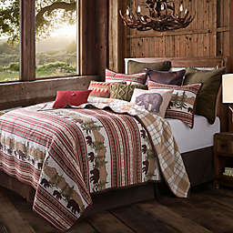 HiEnd Accents Bear Trail Reversible Twin Quilt Set in Taupe/Crimson