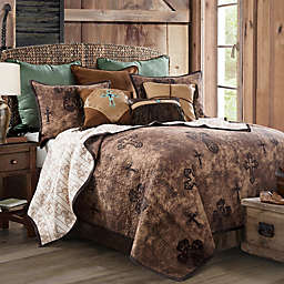 HiEnd Accents Ironwork Reversible Twin Quilt Set in Brown